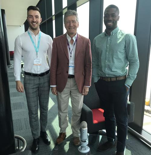 Dr. Giles Maskell (center) meets Drs. Uzoma Nnajiuba and Jamie Howie